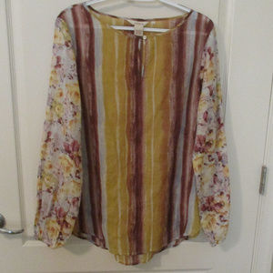 Sundance Tops - Sundance Size L Striped-Floral Blouse Long Sleeves